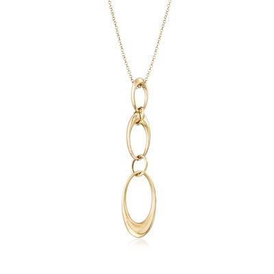Italian 14kt Yellow Gold Graduated Oval-Link Drop Necklace in 14kt Gold, , default