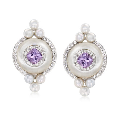 3.5-4mm Cultured Pearl, Mother-Of-Pearl and 1.48 ct. t.w. Multi-Gemstone Earrings in Sterling Silver