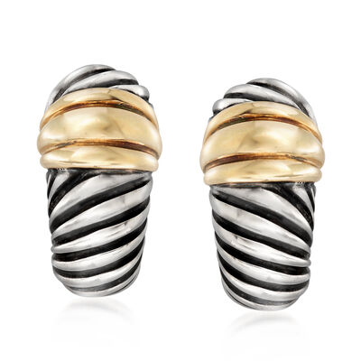 C. 2000 Vintage David Yurman J-Hoop Earrings in Sterling Silver and 14kt Yellow Gold, , default