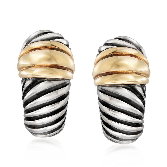 C. 2000 Vintage David Yurman J-Hoop Earrings in Sterling Silver and 14kt Yellow Gold, , default