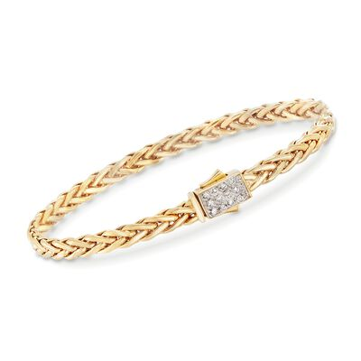 "Phillip Gavriel ""Woven Gold"" .12 ct. t.w. Pave Diamond Small Link Bracelet in 14kt Yellow Gold, , default"