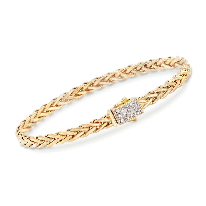 """Phillip Gavriel """"Woven Gold"""" .12 ct. t.w. Pave Diamond Small Link Bracelet in 14kt Yellow Gold. 7.5"""", , default"""