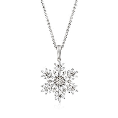 .33 ct. t.w. Diamond Snowflake Pendant Necklace in Sterling Silver