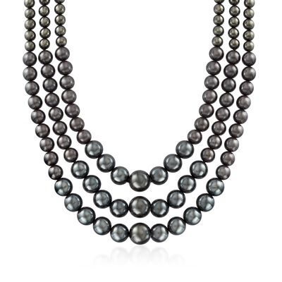 6-12mm Black Shell Pearl Graduated Three-Strand Necklace with Sterling Silver