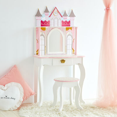 "Child's ""Dreamland"" Castle Play Vanity Set in Pink and White"