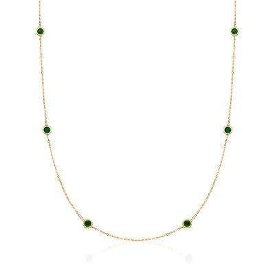 Italian Green Enamel Station Necklace in 14kt Yellow Gold