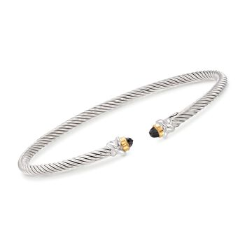 """Phillip Gavriel """"Italian Cable"""" .30 ct. t.w. Black Spinel Cuff Bracelet in Sterling Silver and 18kt Gold. 7"""", , default"""
