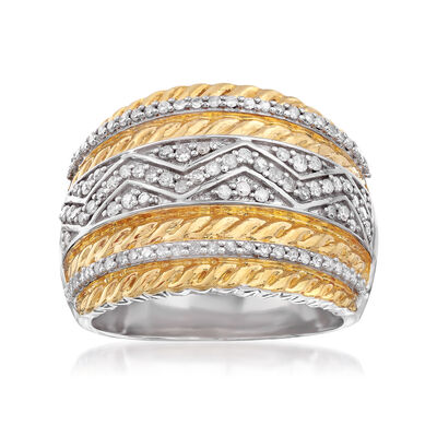 .50 ct. t.w. Diamond Three-Row Ring in Two-Tone Sterling Silver, , default