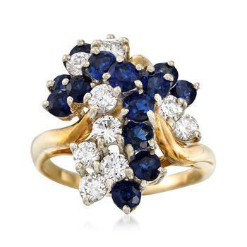 C. 1980 Vintage 2.00 ct. t.w. Sapphire and 1.00 ct. t.w. Diamond Cluster Ring in 18kt Yellow Gold. Size 6.5, , default