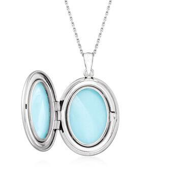 Sterling Silver Fleur-De-Lis Oval Locket Pendant Necklace, , default