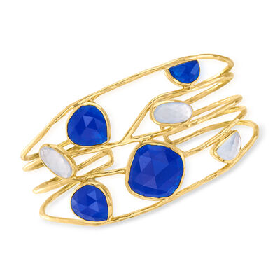 29.90 ct. t.w. Blue Quartz Openwork Cuff Bracelet in 18kt Gold Over Sterling