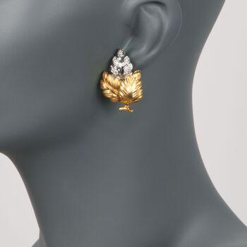 "C. 1980 Vintage .80 ct. t.w. Diamond Leaf Earrings in 18kt Yellow Gold. 1"", , default"