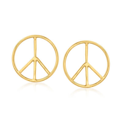 14kt Yellow Gold Peace Sign Earrings