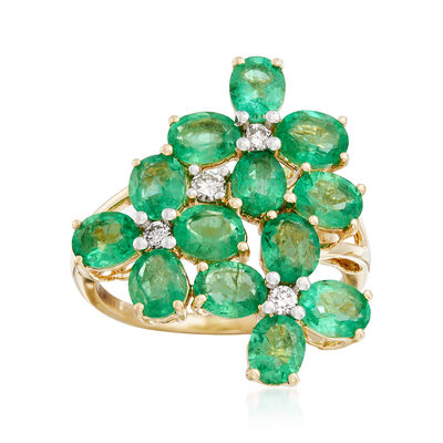 4.40 ct. t.w. Emerald and .16 ct. t.w. Diamond Flower Ring in 14kt Yellow Gold