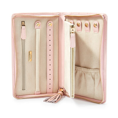 "Wolf Designs ""Caroline"" Rose Quartz Zippered Portfolio Travel Case"