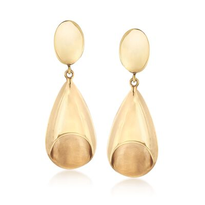 Italian 14kt Yellow Gold Oval and Teardrop Clip-On Earrings, , default