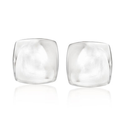 Polished Square Clip-On Earrings in Sterling Silver