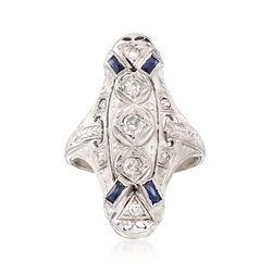 C. 1950 Vintage .37 ct. t.w. Diamond and .12 ct. t.w. Synthetic Sapphire Ring in 18kt White Gold, , default