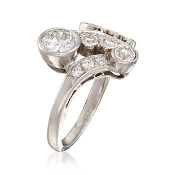 C. 1950 Vintage 1.30 ct. t.w. Diamond Swirl Ring in 18kt White Gold. Size 5, , default