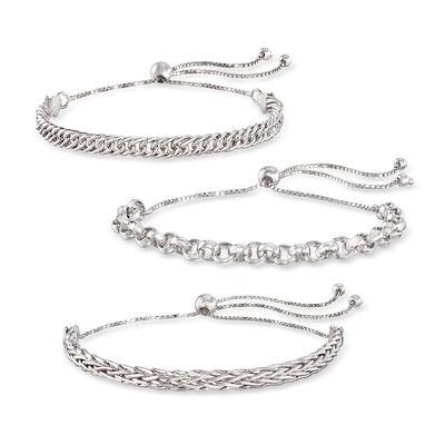 Sterling Silver Jewelry Set: Multi-Link Bolo Bracelets, , default