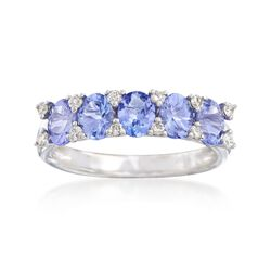 1.80 ct. t.w. Tanzanite and .19 ct. t.w. Diamond Ring in 14kt White Gold, , default