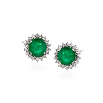4.10 ct. t.w. Emerald and .81 ct. t.w. Diamond Stud Earrings in 18kt White Gold, , default