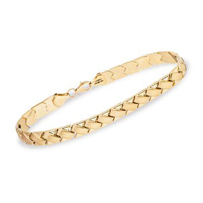 14kt Yellow Gold Paver Stampato Bracelet, , default