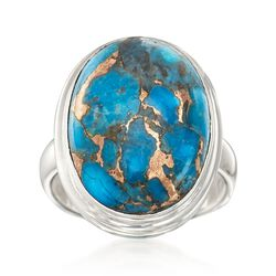 20x15mm Oval Turquoise Ring in Sterling Silver, , default