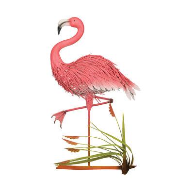 Regal Flamingo Metal Garden Statue, , default