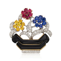 C. 1960 Vintage 6.75 ct. t.w. Multicolored Multi-Stone Floral Basket Pin in Platinum and 18kt Gold, , default
