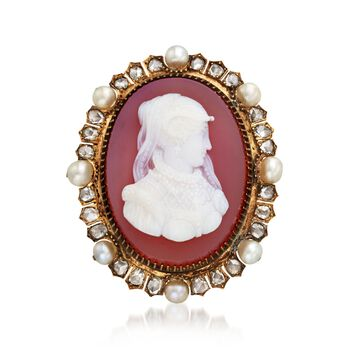 C. 1900 Vintage Carved Agate Cameo Pin With 4mm Cultured Pearls and Diamonds in 14kt Yellow Gold , , default