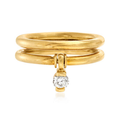 C. 1990 Vintage Jose Hess .20 Carat Diamond Dangle Double-Row Ring in 18kt Yellow Gold