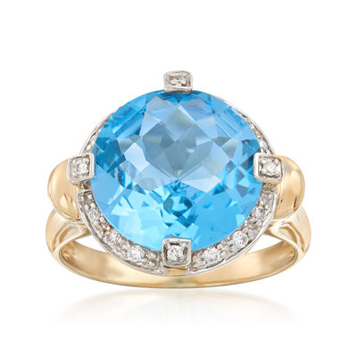 6.75 Carat Blue Topaz and .14 ct. t.w. Diamond Ring in 14kt Yellow Gold, , default