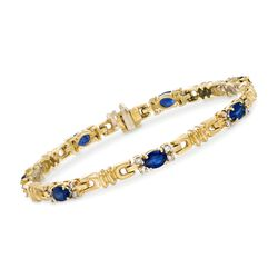 "C. 1990 Vintage 3.85 ct. t.w. Sapphire and .55 ct. t.w. Diamond Bracelet in 14kt Yellow Gold. 7"", , default"