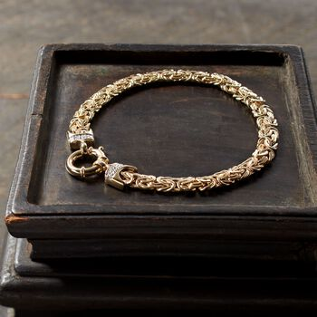 14kt Yellow Gold Byzantine Bracelet With Diamond Accents, , default