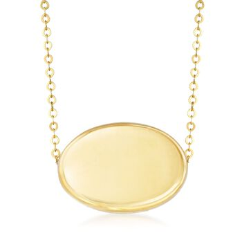 """Italian 14kt Yellow Gold Oval Bead Necklace. 18"""", , default"""