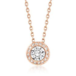 "Swarovski Crystal ""Angelic"" Round Crystal Necklace in Rose Gold Plate. 15""  , , default"