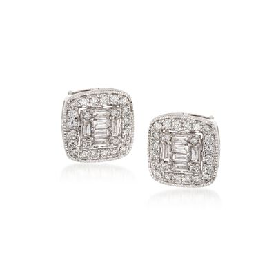 .99 ct. t.w. Baguette and Round Diamond Stud Earrings in 14kt White Gold, , default