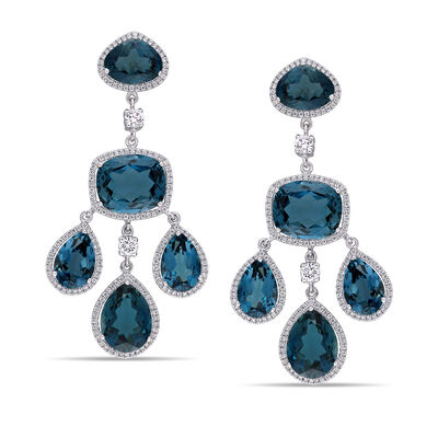 44.50 ct. t.w. London Blue Topaz and .17 ct. t.w. Diamond Geometric Drop Earrings in 18kt White Gold