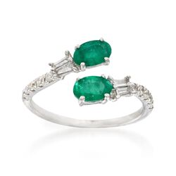 .90 ct. t.w. Emerald and .30 ct. t.w. Diamond Bypass Ring in 14kt White Gold. Size 9, , default
