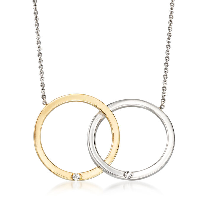 """Roberto Coin 18kt Two-Tone Gold Double Circle Necklace with Diamond Accents. 16"""""""