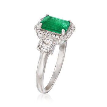 1.30 Carat Emerald and .30 ct. t.w. Baguette and Round Diamond Halo Ring in 14kt White Gold. Size 7, , default