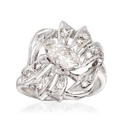 C. 1950 Vintage .75 ct. t.w. Marquise and Round Diamond Ring in 14kt White Gold, , default