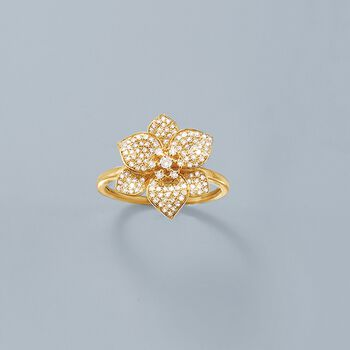 .45 ct. t.w. Diamond Flower Ring in 14kt Yellow Gold