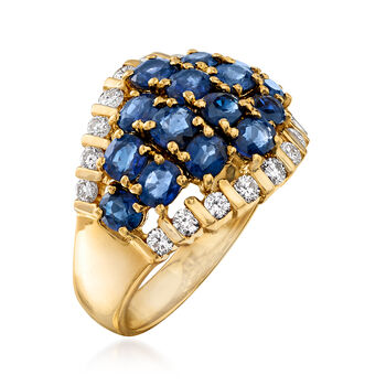 C. 1980 Vintage 3.48 ct. t.w. Sapphire and .57 ct. t.w. Diamond Dome Ring in 18kt Yellow Gold. Size 7, , default