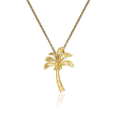 14kt Yellow Gold Palm Tree Pendant Necklace