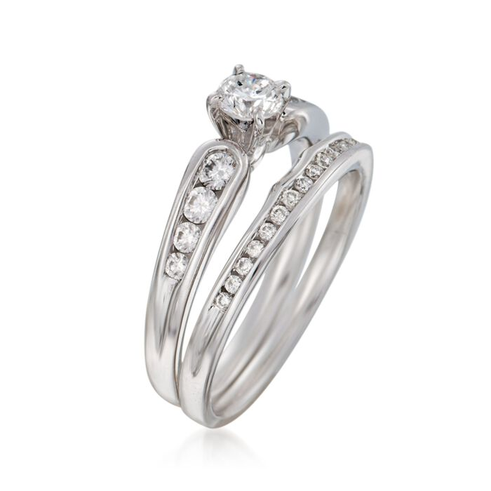 .72 ct. t.w. Diamond Bridal Set: Engagement and Wedding Rings in 14kt White Gold