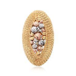 Italian 14kt Tri-Colored Gold Basket Frame Ring, , default