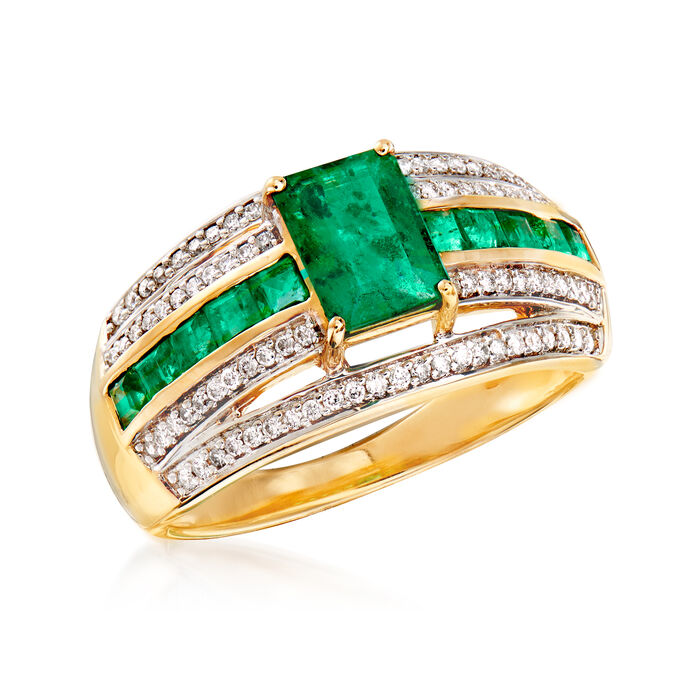 1.20 ct. t.w. Emerald and .25 ct. t.w. Diamond Multi-Row Ring in 14kt Yellow Gold