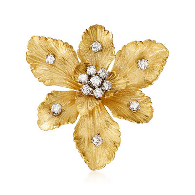 C. 1980 Vintage 1.05 ct. t.w. Diamond Flower Pendant Pin in 18kt Yellow Gold, , default